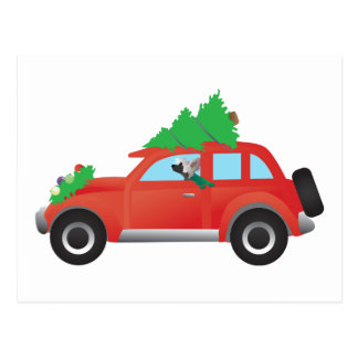 Chinese Crested Dog Driving car w/ Christmas tree Postcard