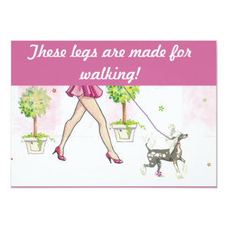Chinese Crested Dog Walking Invitation Postcard