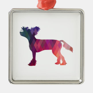 Chinese Crested Geometric Pattern Silhouette Metal Ornament