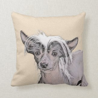 Chinese Crested (Hairless) 2 Throw Pillow