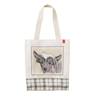 Chinese Crested (Hairless) 2 Zazzle HEART Tote Bag