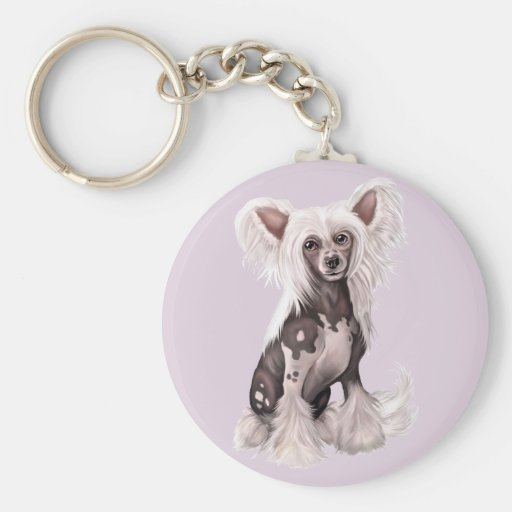 Chinese Crested Hairless Sit Basic Round Button Keychain