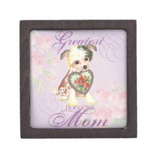 Chinese Crested Heart Mom Keepsake Box