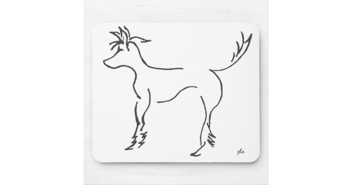 Line Art Mouse : Chinese crested line drawing mousepad zazzle