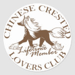 Chinese Crested Lovers Club Round Sticker