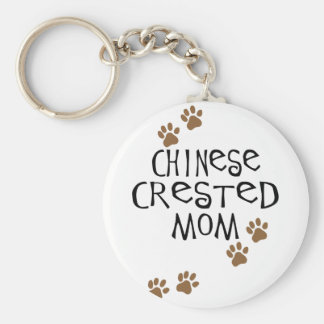 Chinese Crested Mom Basic Round Button Keychain