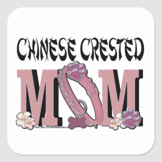 Chinese Crested MOM Square Sticker