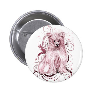 Chinese Crested Pink NB 2 Inch Round Button