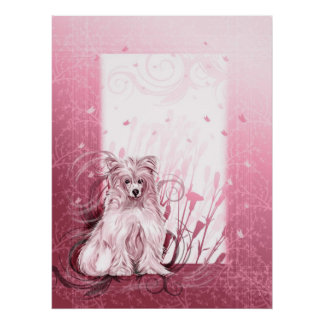 Chinese Crested Pink Poster