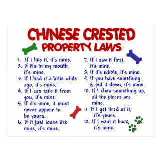 CHINESE CRESTED Property Laws 2 Post Cards