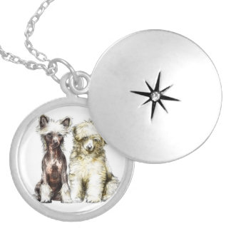 Chinese crested puppies locket necklace