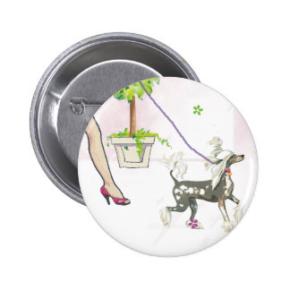 Chinese Crested Walking with Mama Button PIn