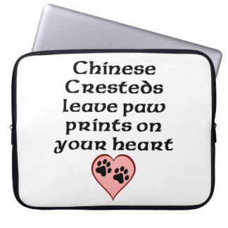 Chinese Cresteds Leave Paw Prints On Your Heart Laptop Computer Sleeve