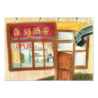 "Chinese Cuisine Invitation (Pike Place Seattle) 5"" X 7"" Invitation Card"