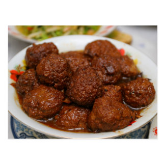 Chinese cuisine post card - meat ball