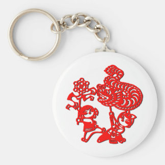Chinese culture : dragon dance (in red) keychain