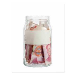 Chinese currency in a jar postcard