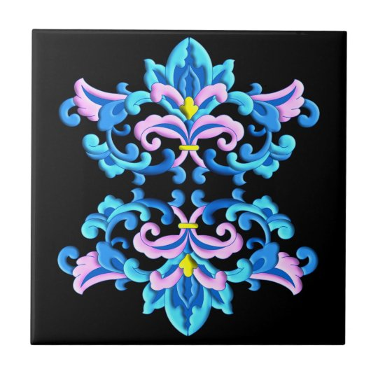 Chinese delicate flower ornament ceramic tile