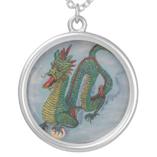 Chinese Destiny Dragon Round Pendant Necklace