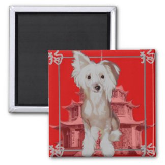 Chinese dog choose your color 2 inch square magnet