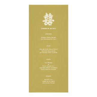 Chinese Double Happiness Chic Floral Wedding Menu Rack Card Template