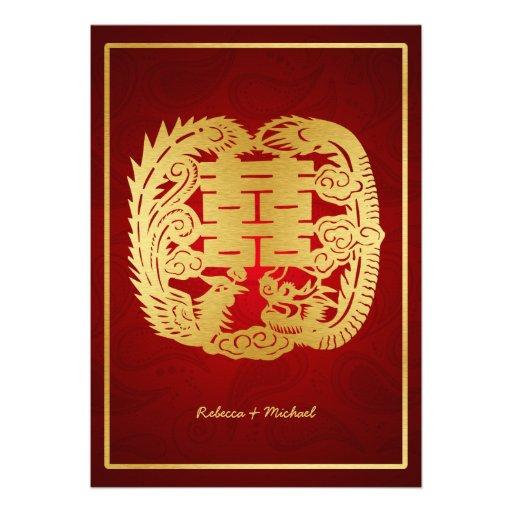 Chinese Double Happiness Dragon / Phoenix Wedding Custom Invitations