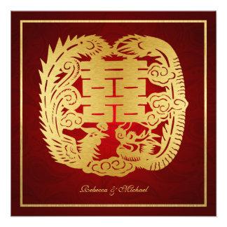 Chinese Double Happiness Dragon / Phoenix Wedding Custom Invites