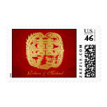 Chinese Double Happiness Dragon / Phoenix Wedding Stamp