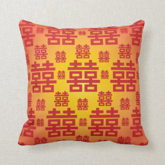 Chinese Double Happiness Good Fortune Wedding Pillow