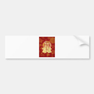 Chinese Double Happiness Koi Fish Red background Bumper Sticker