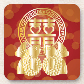 Chinese Double Happiness Koi Fish Red background Drink Coaster