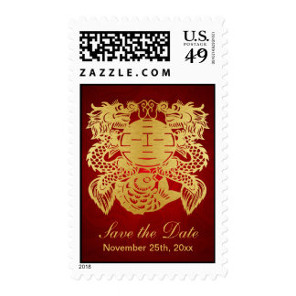 Chinese Double Happiness - Save the Date Postage