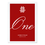 Chinese Double Happiness Wedding Chic Table Number 5x7 Paper Invitation Card