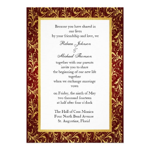 Chinese Double Happiness Wedding Invitation (back side)