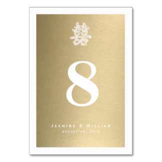 Chinese Double Happiness Wedding Table Number Card Table Card
