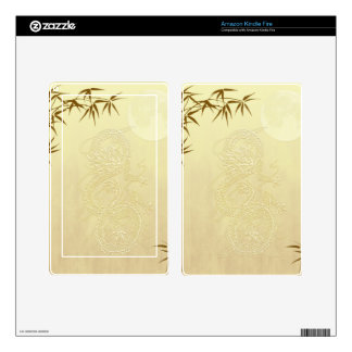 Chinese Dragon and Bamboo Decal For Kindle Fire