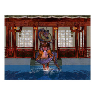 Chinese Dragon and Tiger with Dojo Poster