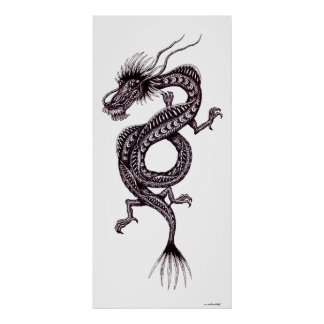 Chinese dragon black and white graphic art poster