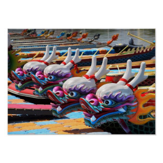 Chinese Dragon Boats in Taiwan Poster