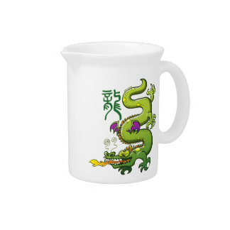 Chinese Dragon Breathing Fire Pitchers