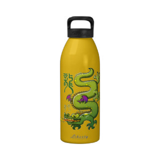 Chinese Dragon Breathing Fire Water Bottle