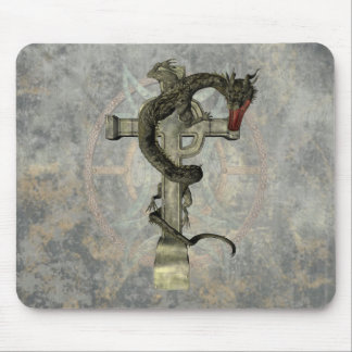 Chinese Dragon & Celtic Cross Mouse Pad