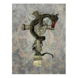 Chinese Dragon & Celtic Cross Postcard