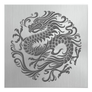 Chinese Dragon Circle with Stainless Steel Effect 5.25x5.25 Square Paper Invitation Card