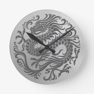 Chinese Dragon Circle with Stainless Steel Effect Round Clock
