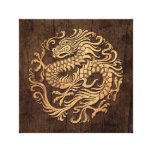 Chinese Dragon Circle with Wood Grain Effect Canvas Prints