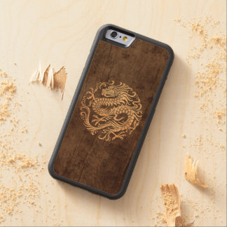 Chinese Dragon Circle with Wood Grain Effect Carved Maple iPhone 6 Bumper Case