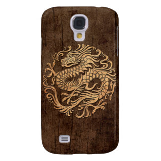 Chinese Dragon Circle with Wood Grain Effect Galaxy S4 Cover