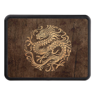 Chinese Dragon Circle with Wood Grain Effect Hitch Cover