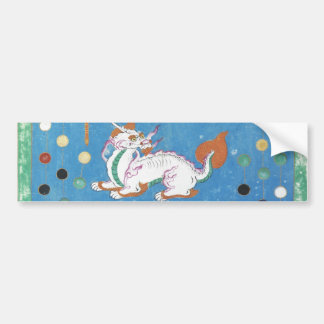 Chinese Dragon Colorful Dots Vintage Watercolor Bumper Sticker